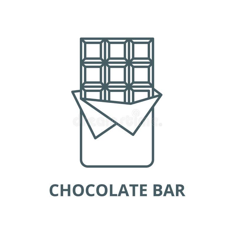 Chokladstånglinje symbol, vektor Tecken för översikt för chokladstång, begreppssymbol, plan illustration stock illustrationer