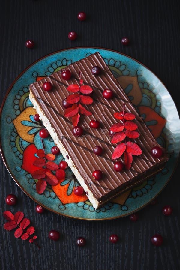 Chokladtårta med bär fotografering för bildbyråer
