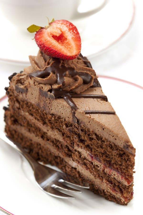 Chokladtårta med kaffe fotografering för bildbyråer