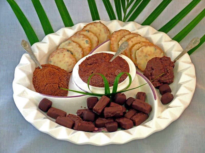Download Chokladuppläggningsfat arkivfoto. Bild av efterrätt, confection - 35544