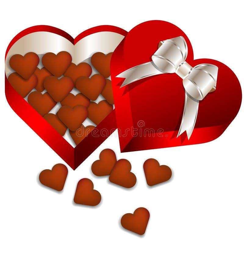 Chokladvalentindag i hjärtagåvaask vektor illustrationer
