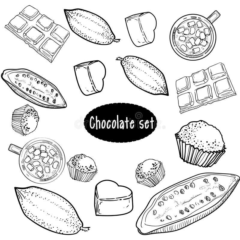 Chokladvektoruppsättning av handteckningen stock illustrationer
