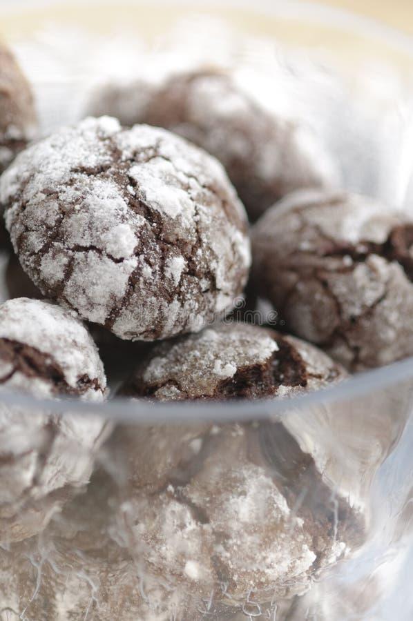 Chokolate crinkles cookies. With icing sugar stock image