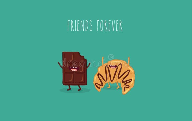 Chokolate y amigos del cruasán stock de ilustración