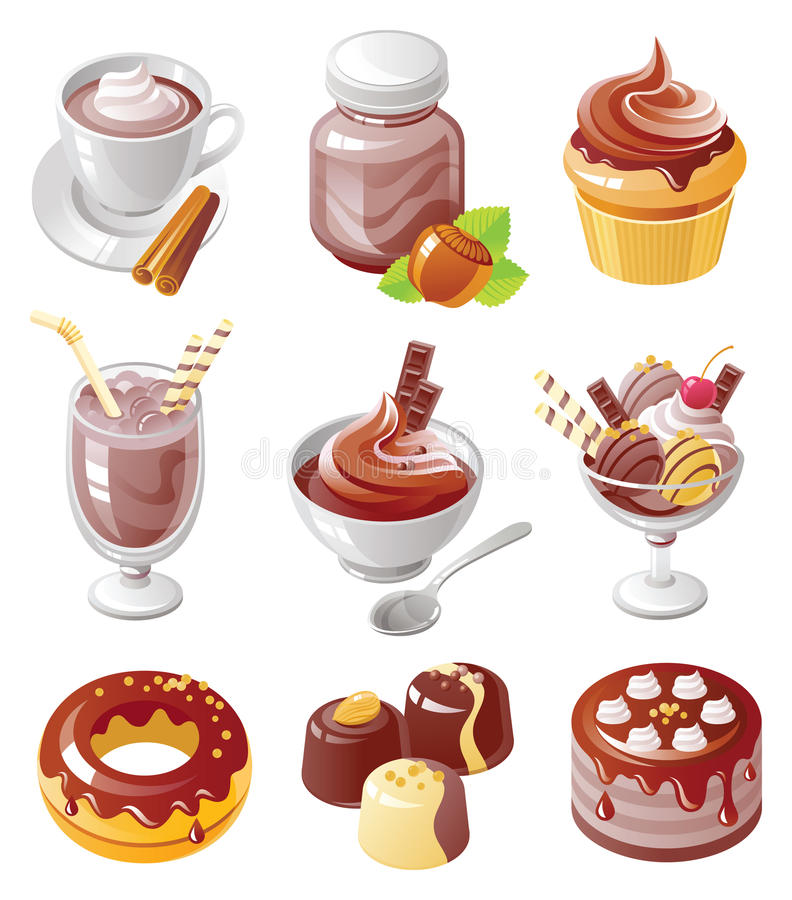 chokolatesymbolsset royaltyfri illustrationer
