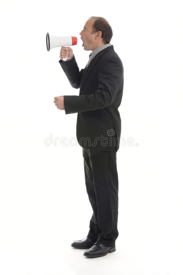 Choleric boss. Angry boss screaming with a megaphone stock photos