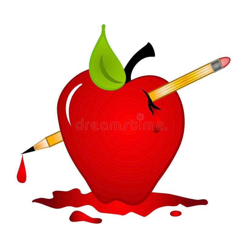 cholerna jabłczana szkolnej przemocy ilustracja wektor