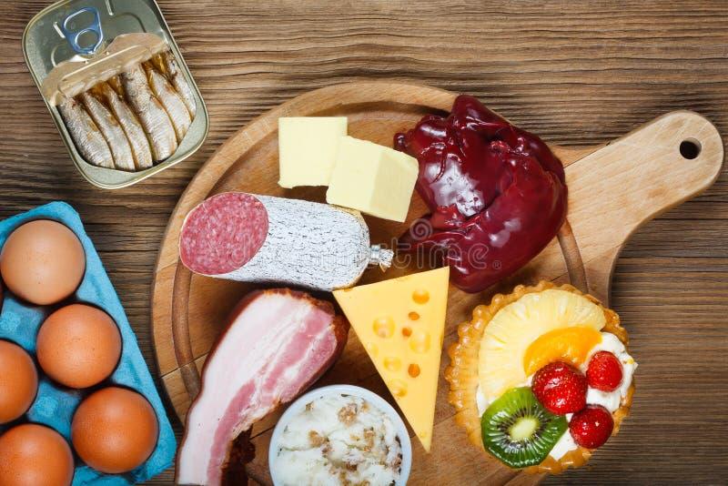 Cholesterinreiche Nahrungsmittel lizenzfreies stockbild