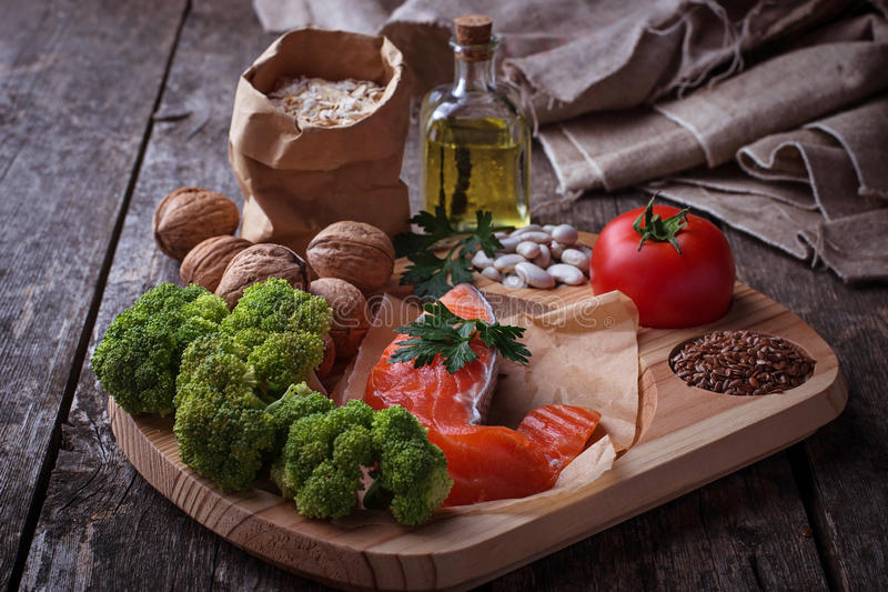 Cholesterol diet, healthy food for heart. Selective focus stock photo