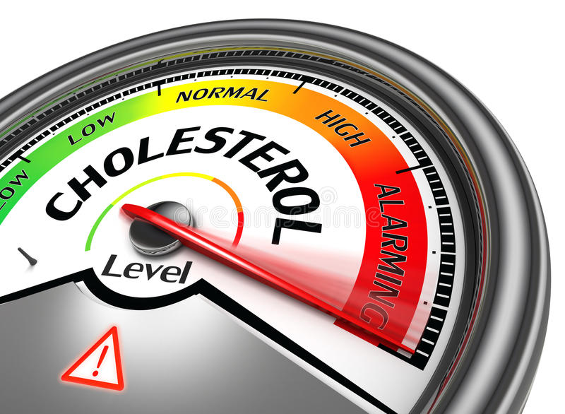 Cholesterol level conceptual meter stock photography