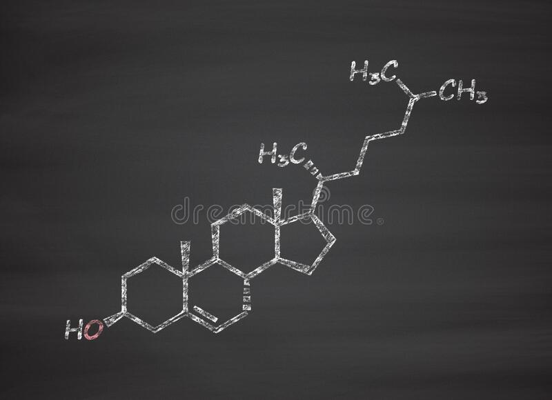 Cholesterol molecule. Essential component of cell membranes and precursor of steroid hormones, bile acids and vitamin D. Chalk on blackboard style illustration royalty free illustration