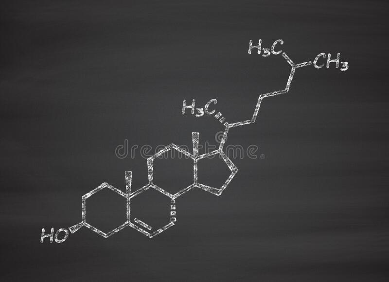 Cholesterol molecule. Essential component of cell membranes and precursor of steroid hormones, bile acids and vitamin D. Chalk on blackboard style illustration vector illustration