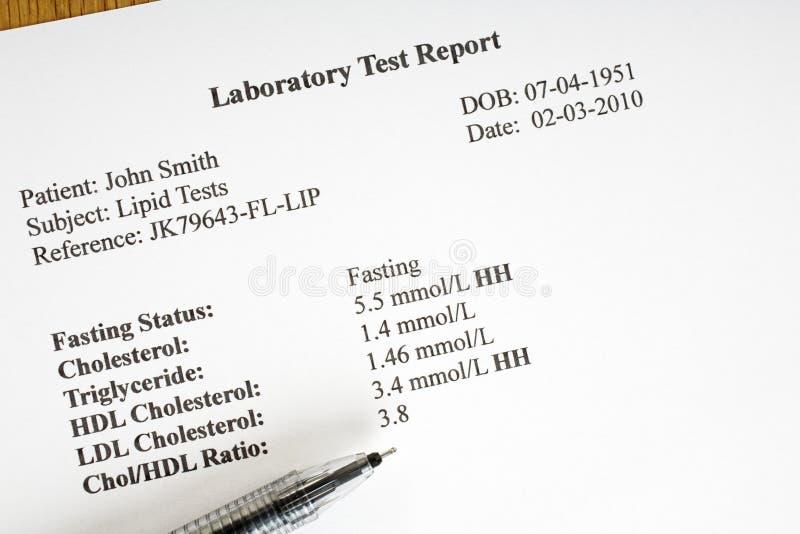 cholesterollaboratoriumrapport royaltyfri bild