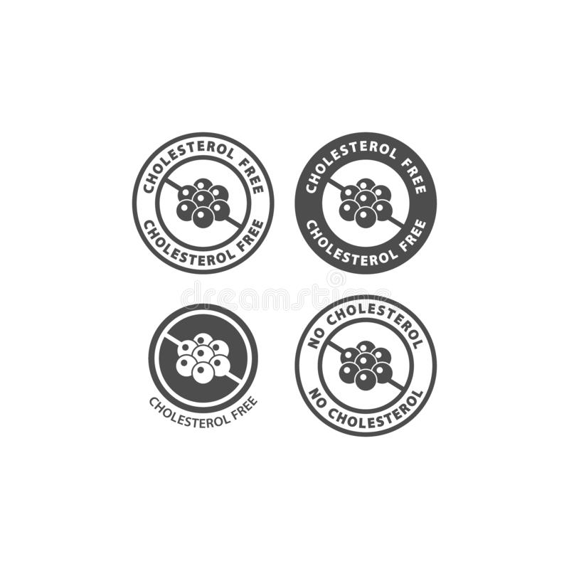 Cholesterolu bezpłatnego okręgu ikony wektorowy znak dla pakować ilustracja wektor