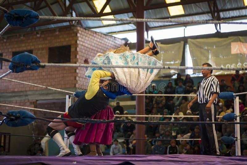 Cholita-Ringkämpfer während eines ringend Kampfes in der Stadt von El Alto, Bolivien stockbild