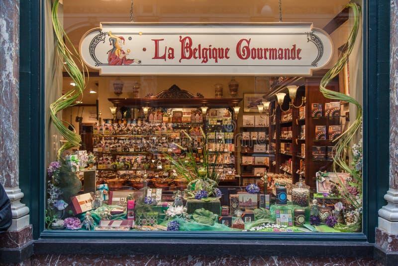Cholocate Window Shop Brussels Belgium. A Window Chocolate Shop, La Belgique Gourmand in downtown Brussels, Belgium stock photo