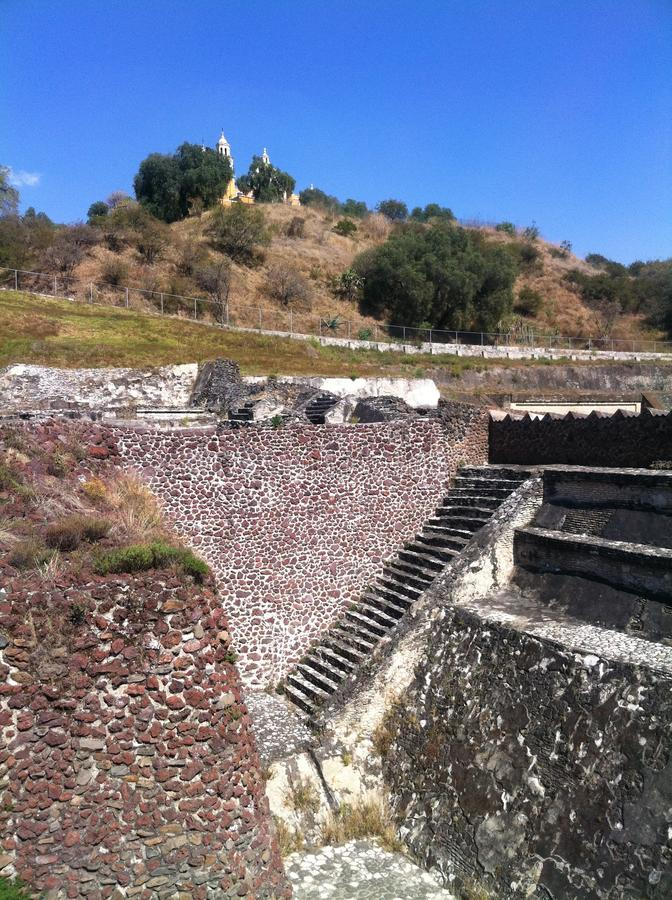 Cholula, church on top of archelogical site. It's said, that underneath this Spanish church would exist the fundament of the largest pyramid of an ancient royalty free stock images