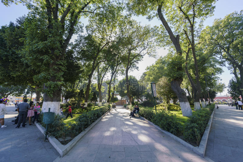 San Pedro Cholula zocalo. Cholula, FEB 18: San Pedro Cholula zocalo on FEB 18, 2017 at Cholula, Mexico royalty free stock image
