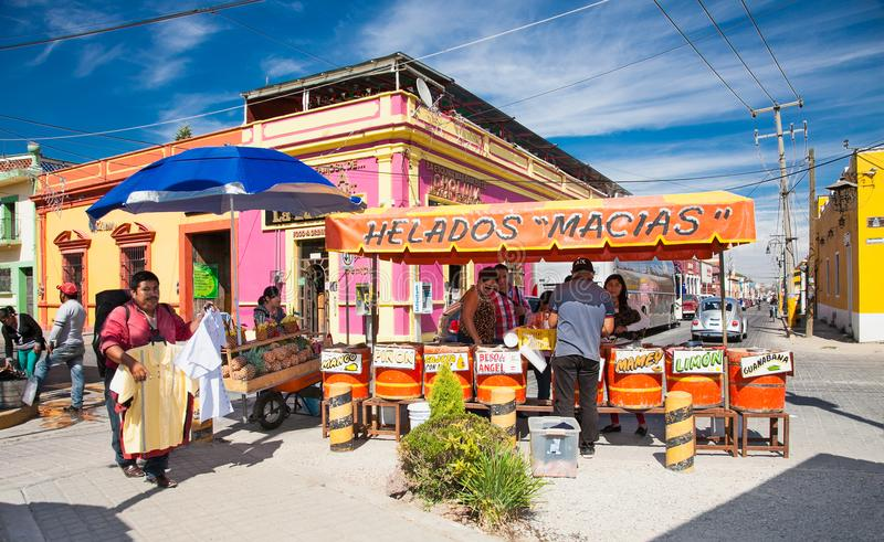 Ice cream business in Cholula, Mexico. stock photo