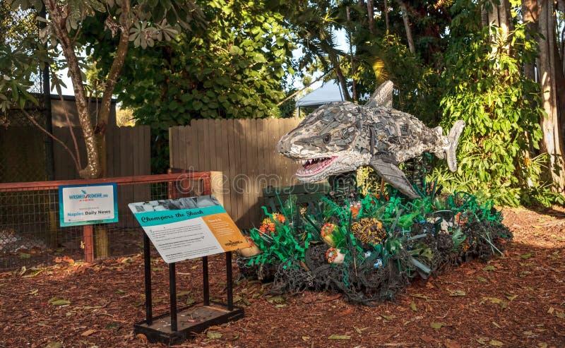 Chompers rekin rzeźba robić śmieci zakładać w oceanie jako część Myjącego Na ląd sztuka eksponata i środowiskowy fotografia stock
