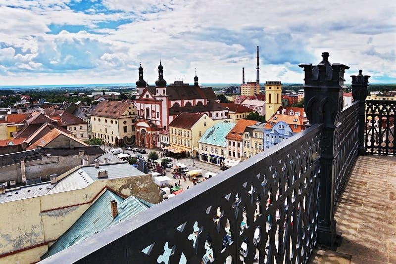 2016/06/18 Chomutov市,捷克共和国-摆正'Namesti 1 Maje 免版税库存照片