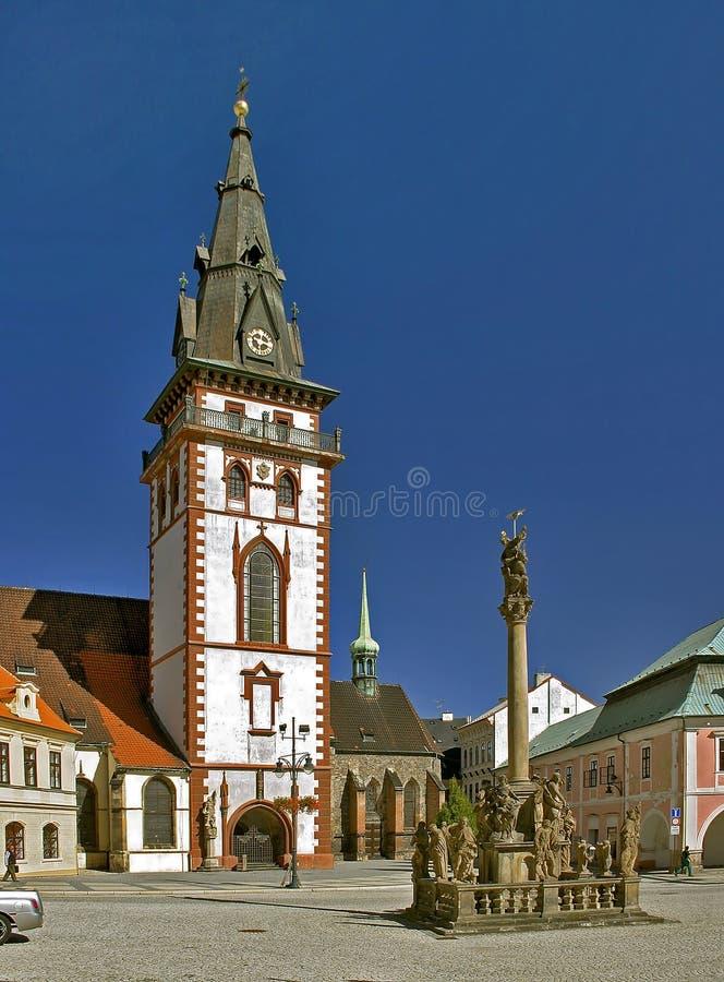 Chomutov -主要教会 库存照片