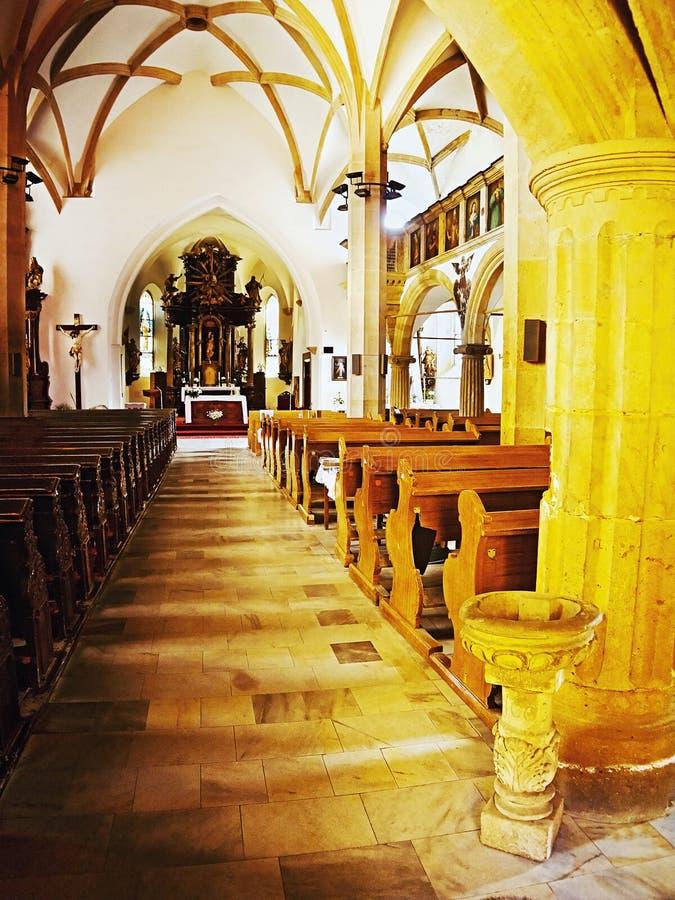 2016/06/18 - Chomutov city, Czech republic - noon arrival to empty gothick church 'Kostel Nanebevzeti Panny Marie' royalty free stock photos