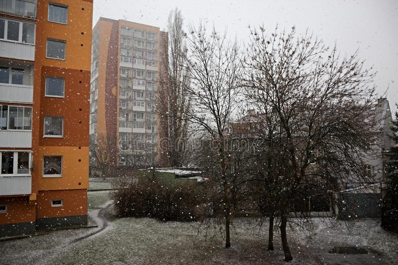 Chomutov, Czech republic - February 02, 2019: snowfall in centre of city in winter stock photography