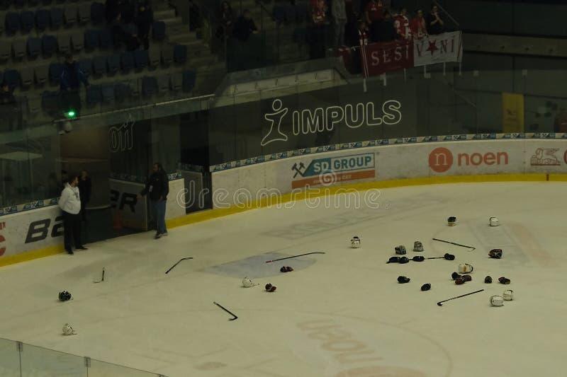 Chomutov, Czech republic - March 27, 2019: U19 ice hockey quartfinal between Chomutov and Slavia Praha - public access event royalty free stock images