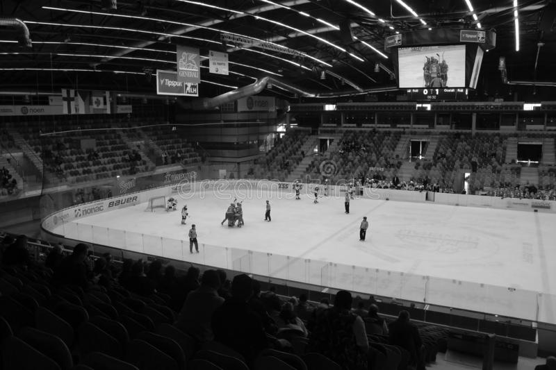 Chomutov, Czech republic - March 29, 2019: U19 ice hockey semifinal between Chomutov and Trinec - public access event stock photography