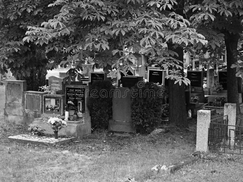 Chomutov, Tschechische Republik - 15. Juli 2019: Gräber zwischen Bäumen unter dem Kirchhof stockbilder