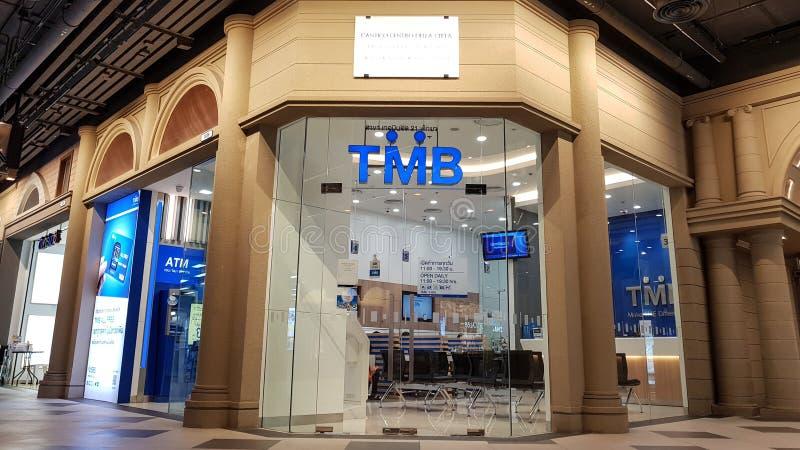 Chon Buri Thailand - December 21, 2018: Filial för TMB-bank, Pattaya för terminal 21 TMBNA PACKA IHOP ALLMÄNHET FÖRETAG BEGRÄNSAD fotografering för bildbyråer