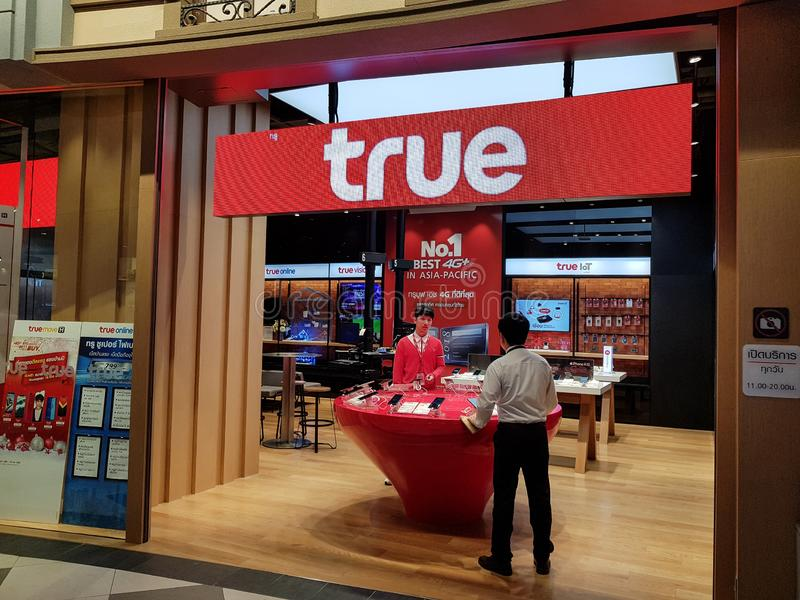 Chon Buri, Thailand - December 21, 2018: True move shop service to customers and people, Terminal 21 Pattaya branch. True stock image