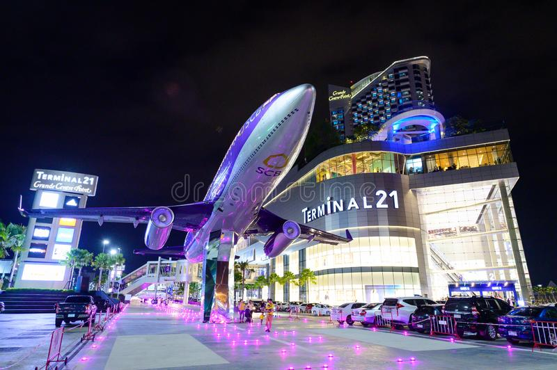Chon Buri, Thailand - July 27, 2019 : Night scene Terminal 21 new shopping mall in Pattaya royalty free stock images