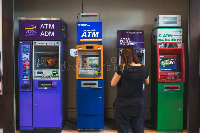 CHONBURI- JULY 7, 2018 : Many of Automatic Teller Machine, ATM in J-PARK Shopping mall on JULY 7, 2018 in CHONBURI, Thailand royalty free stock photography