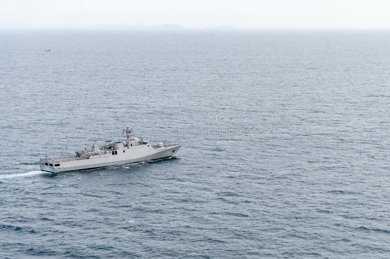 KRI Frans Kaisiepo 368 corvette of Indonesian navy sails  in the sea during the 20th Sea Garuda 2019 Bilateral Naval Exercise. CHONBURI, THAILAND - AUGUST 20 stock photography