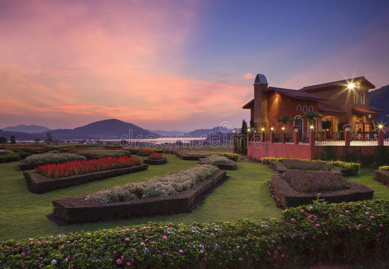 CHONBURI THAILAND-JANUARY 1 : beautiful dusky sky at silver lake stock photography