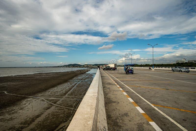 Chonburi, Thailand - July 2019 :Chon Buri bridge Chon Ra Mak Vi Tee Bridge stock photo