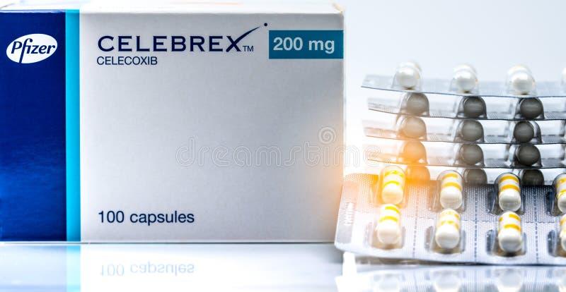 CHONBURI, THAILAND-JUNE 2, 2018 : Celebrex 200 mg capsules. Celecoxib product of Pfizer Pharmaceuticals in Thailand. Painkiller m royalty free stock photos