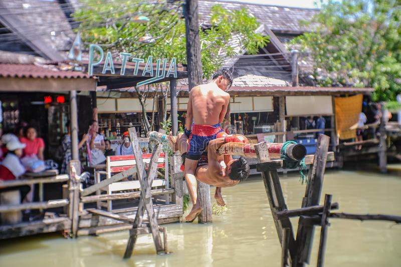 Unacquainted Thai Water boxing in Pattaya Floating Market.Chonburi Thailand Travel royalty free stock photography