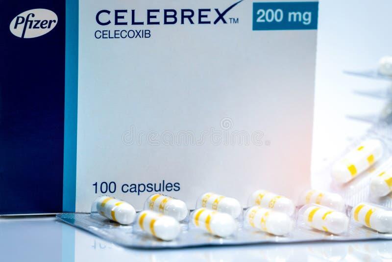 CHONBURI, 2 THAILAND-JUNI, 2018: Celebrex 200 mg-capsules Celecoxibproduct van Pfizer-Geneesmiddelen in Thailand pijnstiller royalty-vrije stock afbeeldingen