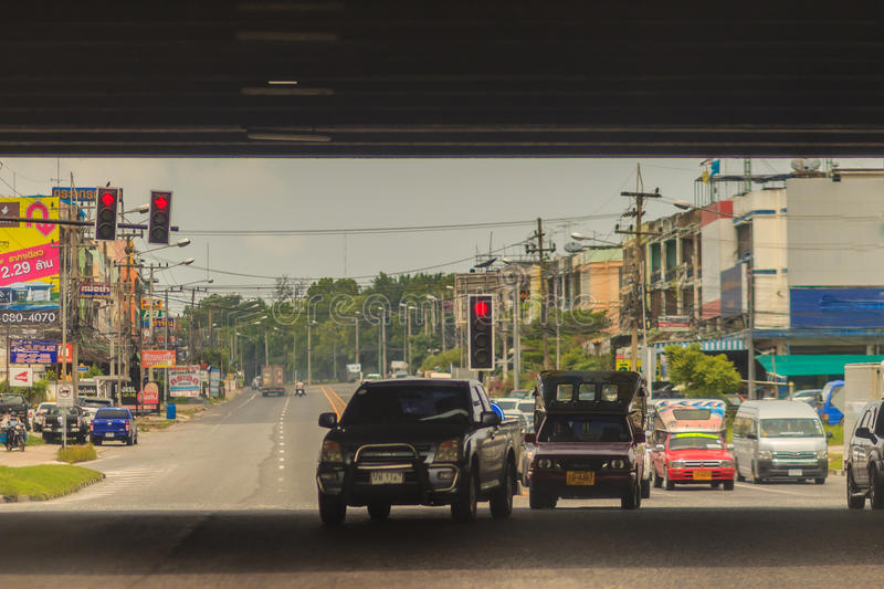 Chonburi, Thailand - May 23, 2017: The opposite cars are turning royalty free stock photography