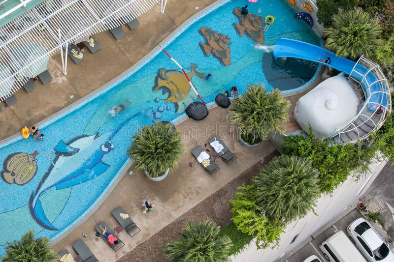 Chonburi, Thailand - May 12, 2018 : Top view of children swimming pool royalty free stock photos