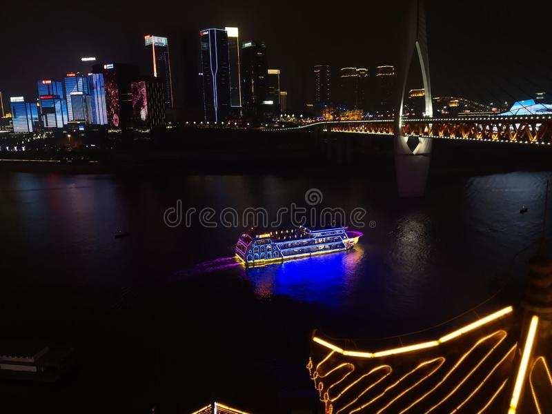Chong Qing nocy scenerii panorama brać od Hongyadong, Chiny fotografia royalty free