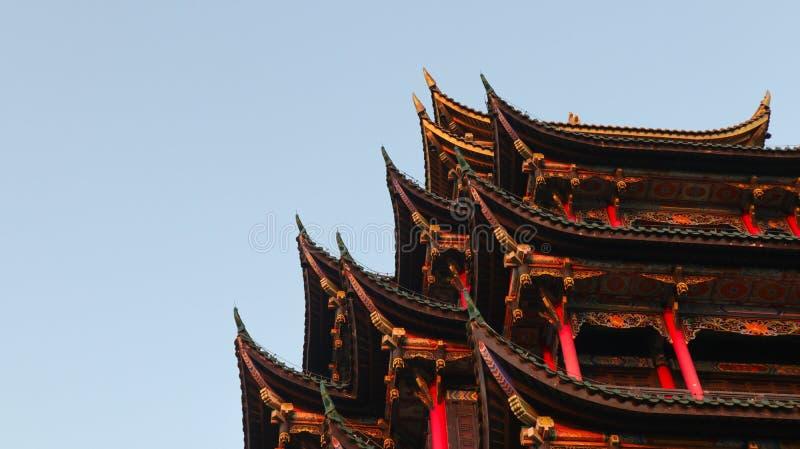 Chongqing, αρχιτεκτονική της Κίνας, παραδοσιακού κινέζικου, περίπτερο επτά-ιστορίας στοκ φωτογραφίες