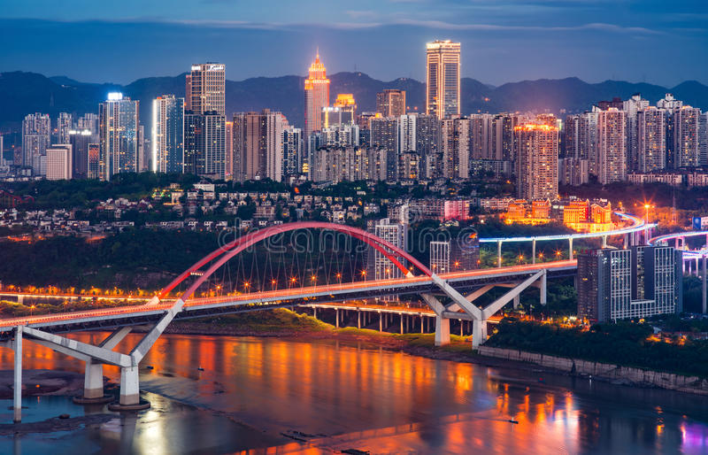 Chongqing CaiYuanBa Bridge at Night. Chongqing CaiYuanBa Yangtze River Bridge at night, China royalty free stock photo