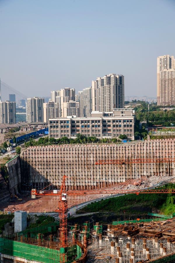 Chongqing Chaotianmen Yangtze River Bridge South Bridge House construction site site stock photos