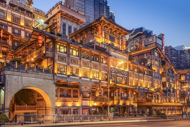 Chongqing, China bij Hongyadong-hellingsgebouwen stock fotografie