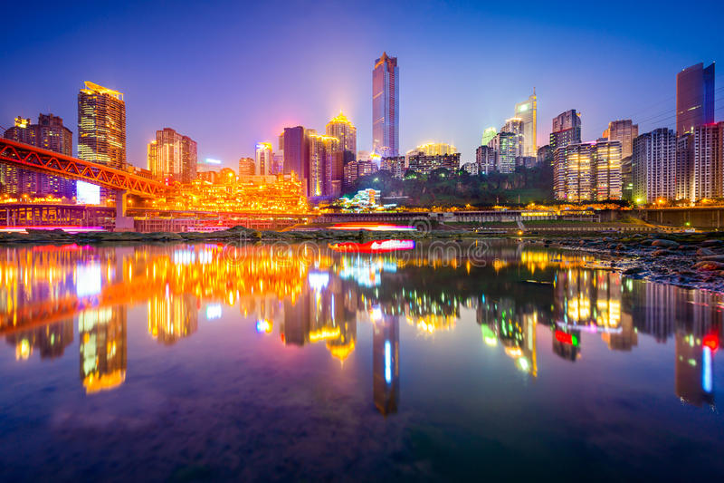 Chongqing China Skyline stock image