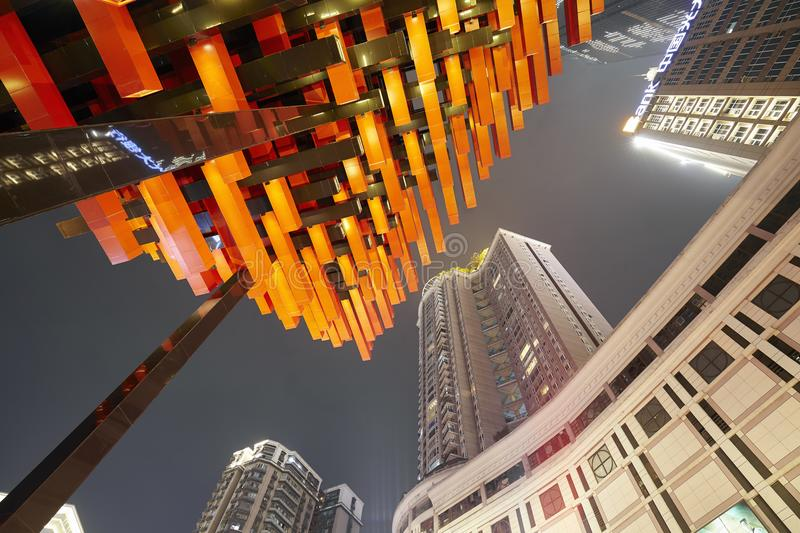 Chongqing city downtown modern architecture at night. stock images